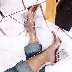 Clear Pointy Toe Chunky Heel Boot…
